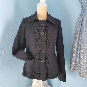 Ann Taylor Loft ruffle wool blend coat/jacket